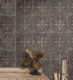 Brooklyn embossed ceramic tiles in pewter from Artisans of Devizes. Tin Tiles, Mosaic Tiles, Pewter Paint, Tile Counters, Tiles For Sale, Porcelain Ceramics, Porcelain Tiles, Style Tile, Decorative Tile