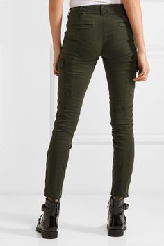 J Brand - Houlihan Cropped Stretch-cotton Twill Skinny Pants - Army green -