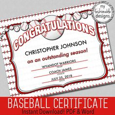 """Baseball Certificate - Instant Download - Word & PDF - 8.5x11"""""""