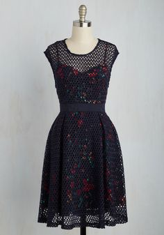Words Veil Me Dress. This unique, navy blue dress from Plenty by Tracy Reese is too lovely for words! #multi #modcloth