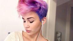 fille, cheveux, musique, cheveux roses, cheveux violets, cheveux courts