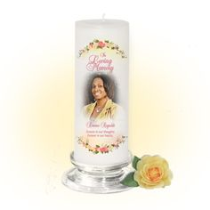 3x9 Pillar Candles : Victoria Custom Memorial Pillar Photo Candle White, Unscented. Stand, optional