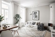 Grey and white Scandinavian living room