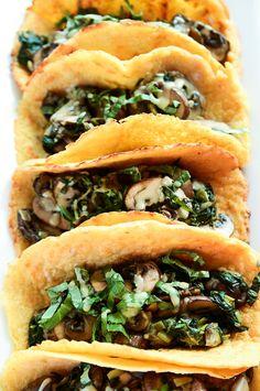 "vegan-yums: "" Vegan Crêpe Tacos with Warm Spinach-Mushroom Filling """