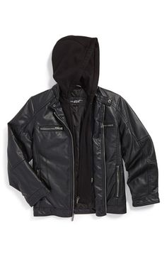 Black Rivet Faux Leather Jacket (Big Boys) (Nordstrom Online Exclusive) available at #Nordstrom