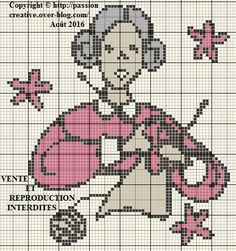Free cross stitch patterns: Granny knits - The Isabelle blog ~~ DMC #'s 168…