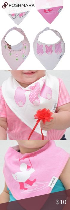 New set of 4 Easter bandana bibs bunny Spring🐣 New in packaging!  ABSORBENT DROOL BIBS – Made of 100% soft cotton on the front and a super absorbent polyester fleece in the back.  - NO CHEMICAL COLOR ADDITIVES: natural, allergy-free products. . - ADJUSTABLE 2 SNAP BIB - 2 high quality nickel free snaps to fit your growing baby. Recommended for ages 3-36 months. . - BEAUTIFUL BABY SHOWER GIFT SET - Say Kidz Accessories Bibs