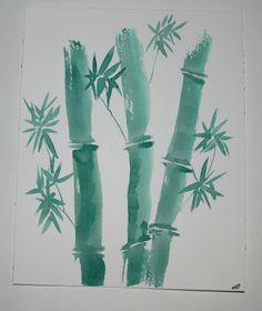 Tableau peinture bambous sumi e encre de chine japon encre de chine bambous character design - Dessin arbre chinois ...