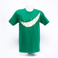 Kelly green tee with Feed Me teeth.  5 color screen print on super cozy American Apparel tee.   Screen printed interior neck print with sizing.