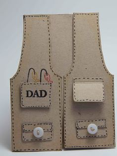 Homemade Cards by Erin: Dad, my hero, fishing vest in weave facial mask gift bags Oyin Handmade, Handmade Gifts, Handmade House, Handmade Jewelry, Fishing Vest, Diy Cards, Men's Cards, Scrapbook Cards, Scrapbooking