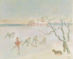 EINAR JOLIN, Bandyspelare på isen, Gripsholms Slott.