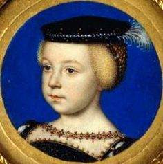 A portrait miniature of Elizabeth of France, daughter of King Henri II. By Francois Clouet.