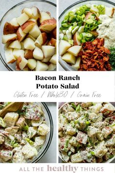 Cool and creamy bacon ranch potato salad is the perfect spring or summer side dish. Full of flavor from crispy bacon and a homemade dairy-free ranch dressing, no one will ever guess that this potato salad is Whole30 compliant and Paleo friendly. Bacon Ranch Potato Salad, Bacon Ranch Potatoes, Summer Side Dishes, Healthy Gluten Free Recipes, Ranch Dressing, Lunch Recipes, Whole30, Apps, Homemade