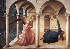 Fra Angelico, Annunciation in cell, San Marco. The artist painted each monk's simple cell with a small fresco. The style of these frescoes is unadorned and almost abstract.