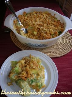 BROCCOLI CASSEROLE. Velveeta (not even sure that's real food) can be replaced by home made cheese sauce or simply shredded cheddar.