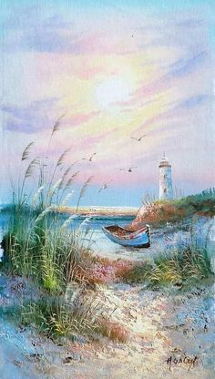 painted on canvas lighthouses | Oils - Sea with boat and lighthouse by H Gailey. Oil on canvas. was ... #OilPaintingBoat