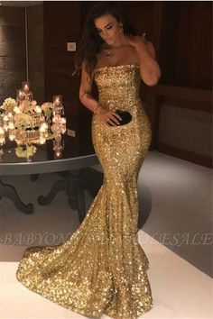 160156f2e89 Sparkle Gold Sequins Mermaid Evening Gowns Cheap Sexy Strapless Prom Dresses  FB0164