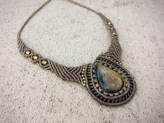 macrame necklace with labradorite resreved for Lauralai de Lune