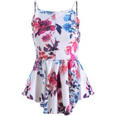 Spaghetti Strap Florals Peplum Hem Cami Top (21 CAD) ❤ liked on Polyvore featuring tops, shirts, dresses, blusas, multicolor, floral print shirt, cami shirt, cami tank, colorful shirts and shirt vest