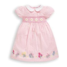 Gingham seersucker is reminiscent of old school summers but it's back with an update. Beautifully embroidered with delicate flowers and mice, and featuring smocking detail too, this is an extra special take on a classic. What's more, baby sizes come Baby Girl Fashion, Toddler Fashion, Frocks For Girls, Pink Gingham, Baby Size, Simple Dresses, Summer Dresses, Little Babies, Pale Pink