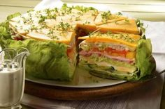 Salattorte - Salat , Salattorte Salad Cake - A spicy-fresh cake with fresh salad and garlic dressing kochen backen. I Love Food, Good Food, Yummy Food, Salad Cake, Cooking Recipes, Healthy Recipes, Snacks Recipes, Salad Recipes, Food Humor