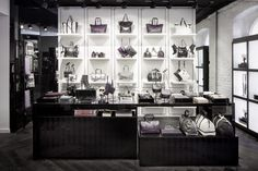 Karl Lagerfeld store by Plajer Franz Studio Berlin 01 Shop Display Stands, Shop Window Displays, Shop Interior Design, Retail Design, Visual Merchandising, Parisian Store, Shoe Store Design, Black Brick Wall, Store Layout