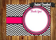 Instant Download Hot Pink and Black Chevron by InvitesByChristie, $6.00