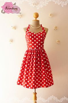 Red Summer Dress Red Party Dress Polka Dot