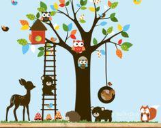 Adesivi decalcomania swing tree with,owls,birds,deer,bear,fox.woodland set animali vivaio Decalcomanie da muro