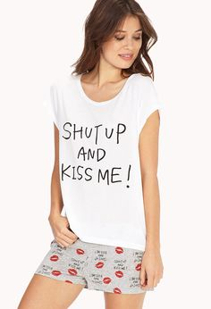 Kiss Me PJ Set | FOREVER21 Smooches! #F21Crush #ValentinesDay #Pajamas ***OR, MAKE MY OWN TSHIRT? PROBZ.
