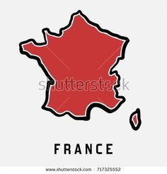 France simple map outline - simplified country shape map vector. France Country, Map Outline, Map Vector, Stage, Royalty Free Stock Photos, Culture, Logo, Friends, Simple