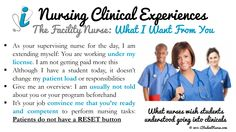 Nursing Student Clinical Success: Perspective of the Facility Nurse. What nurses wish that their assigned students knew about them when entering the clinical setting. From the iStudentNurse Clinical Resources section: www.iStudentNurse.com/Clinicals/