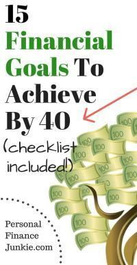 15 Financial Goals To Achieve By 40 (Checklist Included) - Personal Finance Junkie : All of the RIGHT financial goals to achieve to reach financial freedom. Financial Literacy, Financial Goals, Financial Planning, Freedom Financial, Ways To Save Money, Money Saving Tips, Money Tips, Budget Planer, Personal Finance