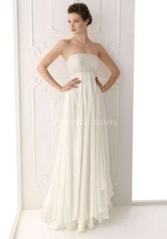 25e41b21e28 Column Chiffon Ruched Empire Waist Beading Wedding Dress Rosa Clara