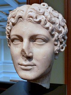 Agrippina the Younger, sister of Emperor Caligula, mother of Emepror Nero, wife of Emperor Claudius, head of Roman statue (marble), 1st century AD, (Getty Museum, Los Angeles).