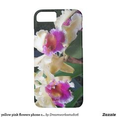 yellow pink flowers phone case