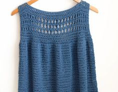 Summer Vacation Easy Crocheted Top Pattern – Mama In A Stitch Easy Beginner Crochet Patterns, Basic Crochet Stitches, Crochet Basics, Easy Crochet, Free Crochet, Crochet Top Patterns, Skirt Patterns, Crochet Summer Tops, Crochet Tops