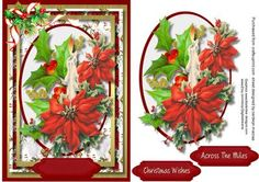 Beautiful Candle and poinsettias  on Craftsuprint - Add To Basket!