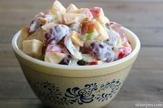 Waldorf Salad with Creamy Yogurt Dressing--an old classic with a healthy makeover!  #waldorfsalad #salad #BBQ #sidedish