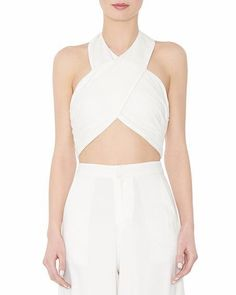 e4f3d2ac5ebc79 Alice Olivia LEYNA Ruched Cropped Linen Halter Top 2 A917 for sale online    eBay. White ...
