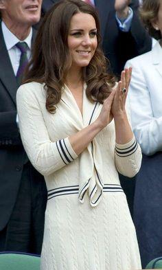 Kate Middleton, Duchess Of Cambridge, In Alexander McQueen At Wimbledon Tennis Championships, 2012 Tennis Whites, Kate Middleton Hair, Estilo Real, Evolution Of Fashion, Princess Kate, Fashion Gallery, Royal Fashion, Street Chic, Duchess Of Cambridge
