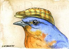 ACEO signed PRINT  Bluebird with hat by poordogfarm on Etsy