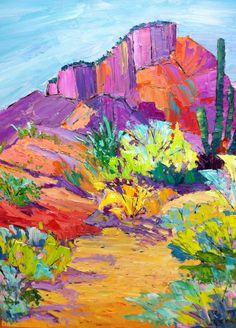 Arizona Desert Color, original 20 x 16 oil painting. To purchase, please go to www.lizzornes.com. #OilPaintingNature