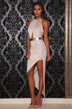 fbc38698279 Bombshell Asymetrical dress (Oyster)