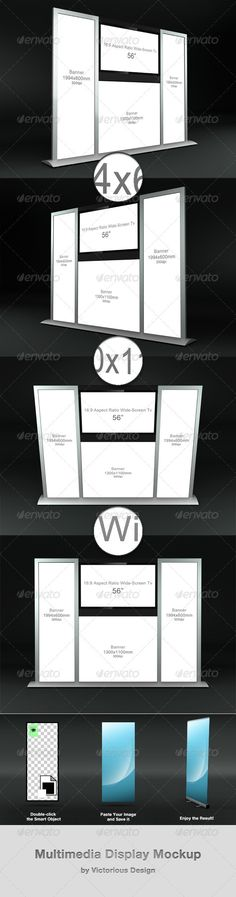 """Multimedia Display Mockup  #GraphicRiver         Multimedia Display Mockup is a great addition to any mockup collection.   It's easy to use and saves your time.   This package includes:   - 4 psd files with 4 different angles (5000×3800px)   - instructions   Active areas:   - Banner 1944×600mm (x2)   - Banner 1300×1100mm   - TV 56""""   - Background is an integral part of the scene.     Created: 31August12 GraphicsFilesIncluded: PhotoshopPSD Layered: Yes MinimumAdobeCSVersion: CS5…"""
