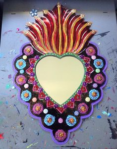 Sacred Heart tin metal mirror / extra large / Mexican folk art / bright colorful mixed media / rainbow / wedding gift