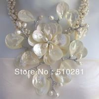 FREE SHIPPING!!!! Colossal Floral Mother of Pearl Necklace