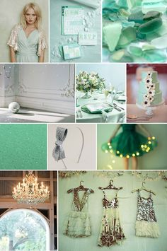 Seaglass & sparkle wedding inspiration board. mixed matched bridesmaid dresses