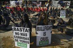 """Un grupo de activistas antitaurinos realizan una performance llamado """"En la piel del toro"""" para exigir la suspensión de las corridas de toros hoy, domingo 21 de febrero de 2015, en Medellín (Colombia)."""