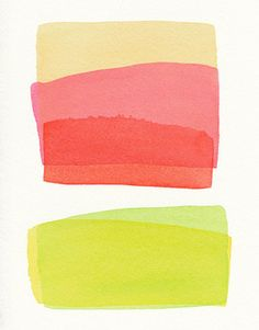 Five Color Stacked Small Original Watercolor By malissas place modern artwork